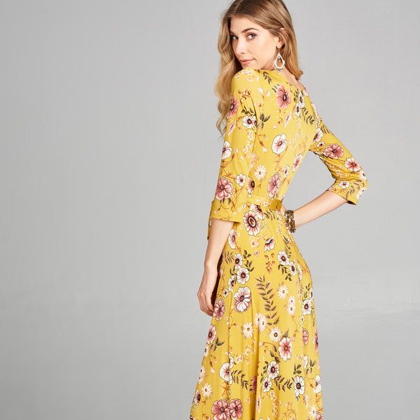 Mustard Floral Venechia Wrap Dress - Love, Kuza