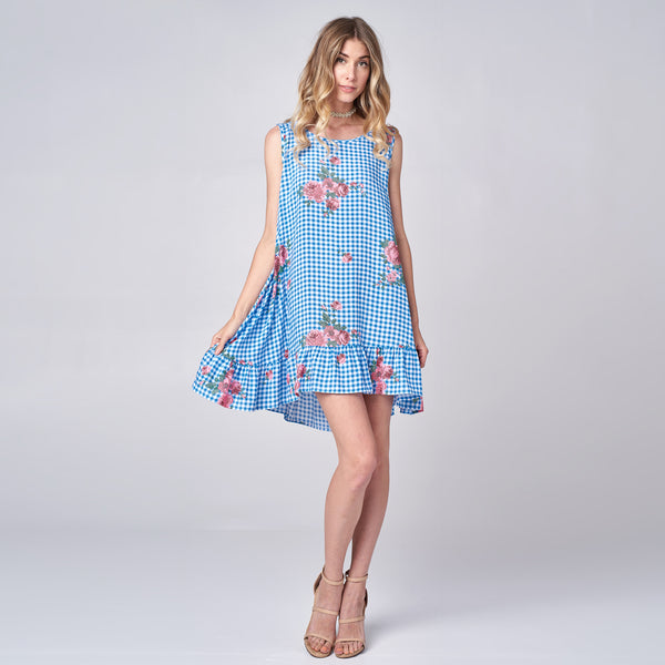 Gingham Challis Swing Dress