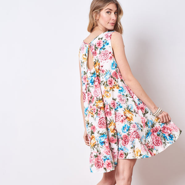 Cottage Floral Challis Swing Dress
