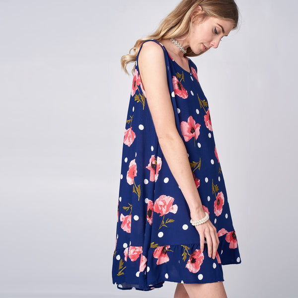 Poppy Dot Challis Swing Dress