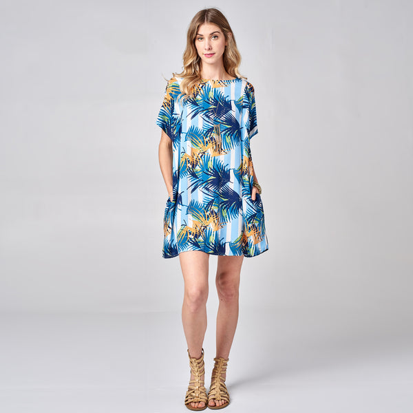 Blue Palm Leaf Challis Dress