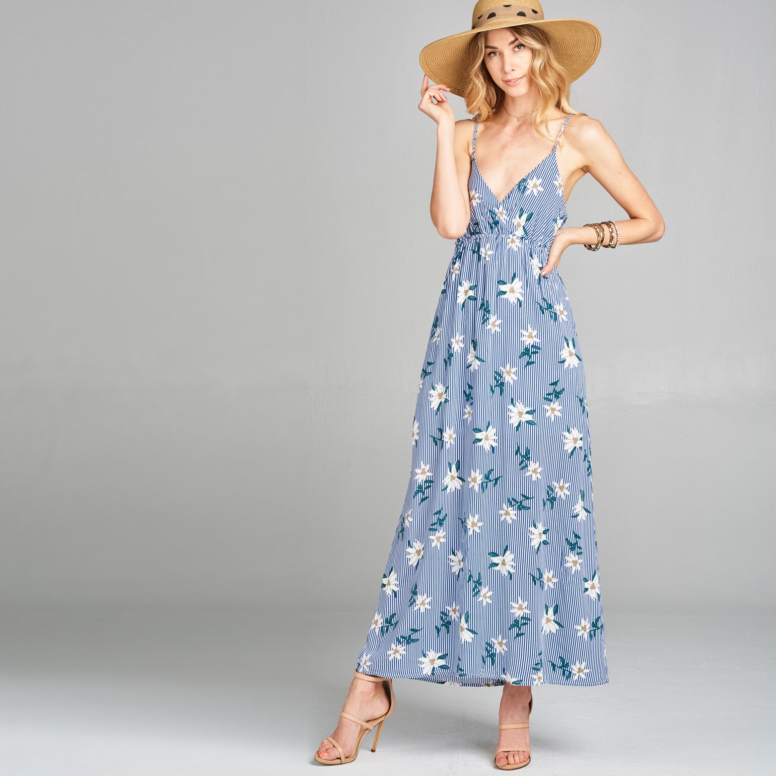 Floral in Stripe Surplice Maxi Dress