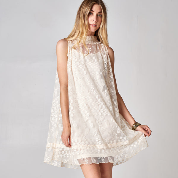 Floral Lace Mock Neck Dress - Love, Kuza