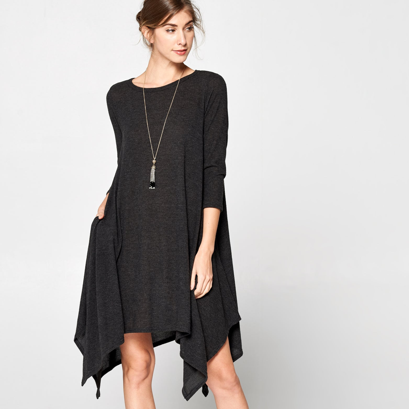 Asymmetrical Three-Quarter Sleeve Hacci Dress