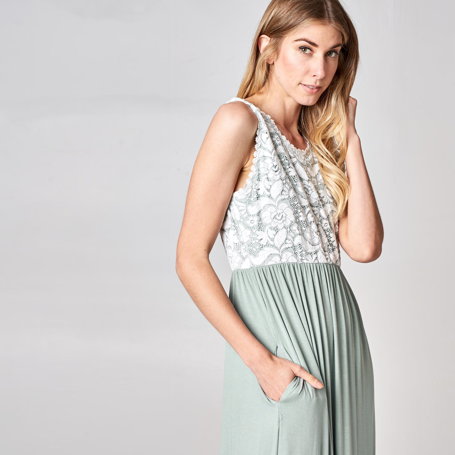 Sweet Sage Empire Maxi Dress