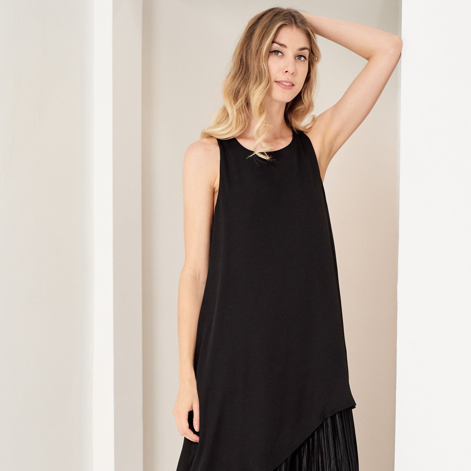 Asymmetrical Pleated Midi Dress