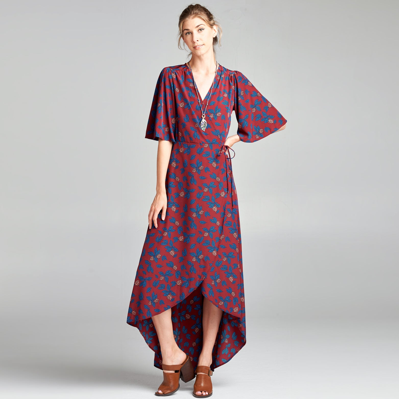 Navy Leaf Kimono Dress - Love, Kuza