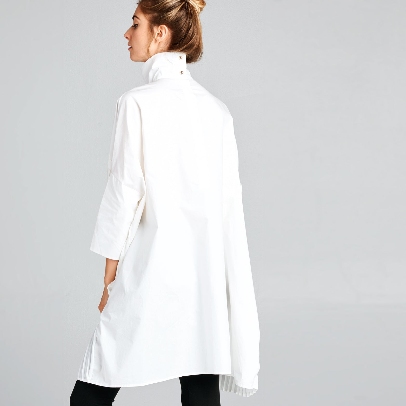 Mandarin Collar Pleated Shirtdress
