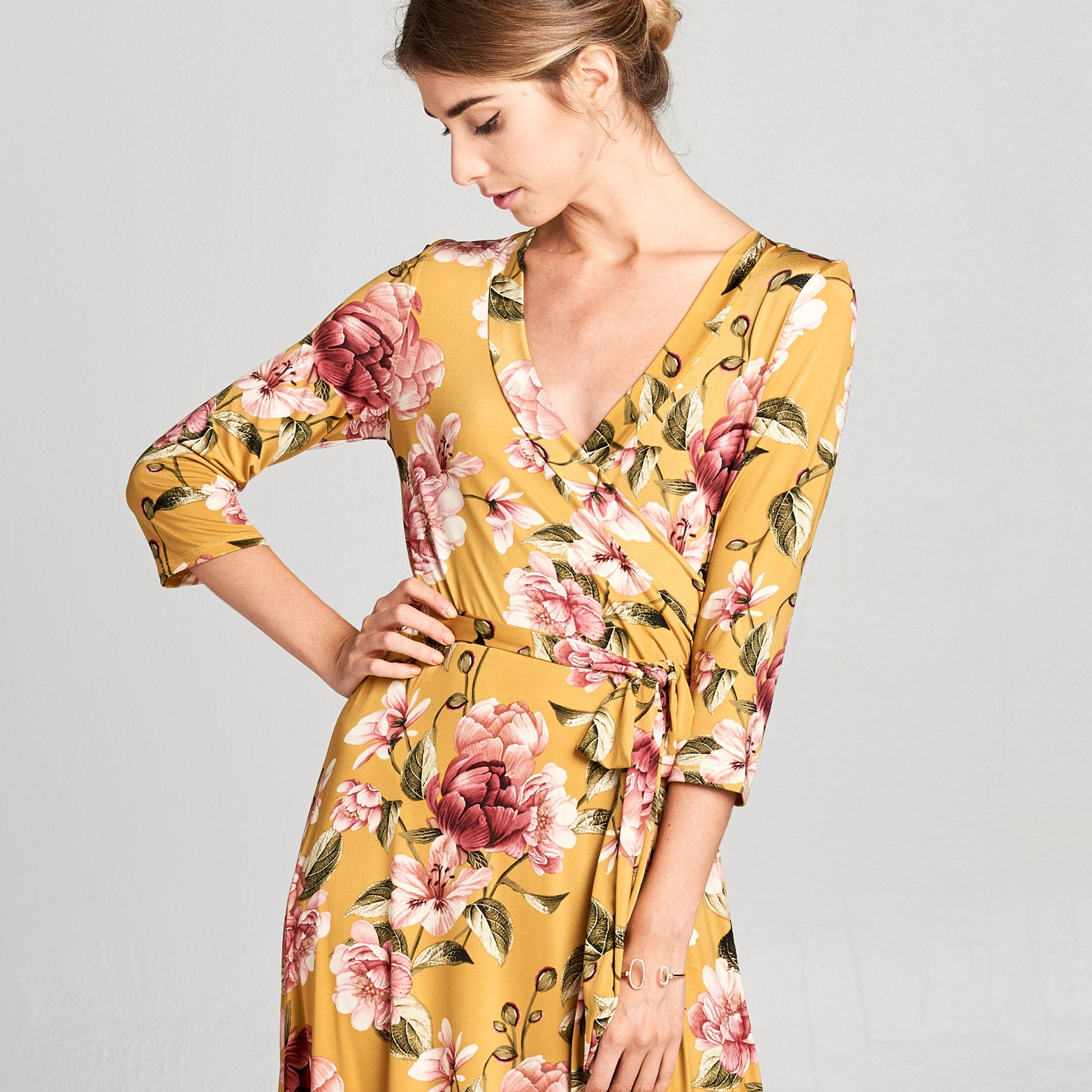 Vintage Mustard Floral Venechia Wrap Dress
