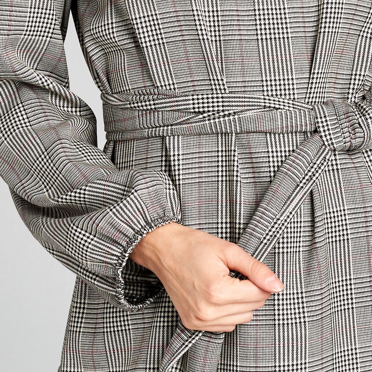 Bishop Sleeve Woven Plaid Dress