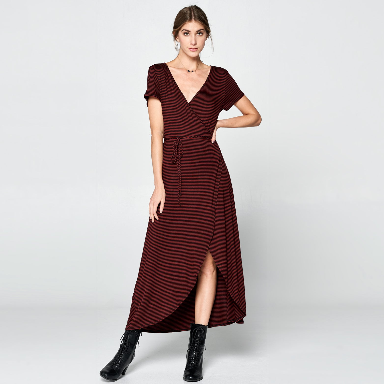 Burgundy Striped Petal Wrap Maxi Dress