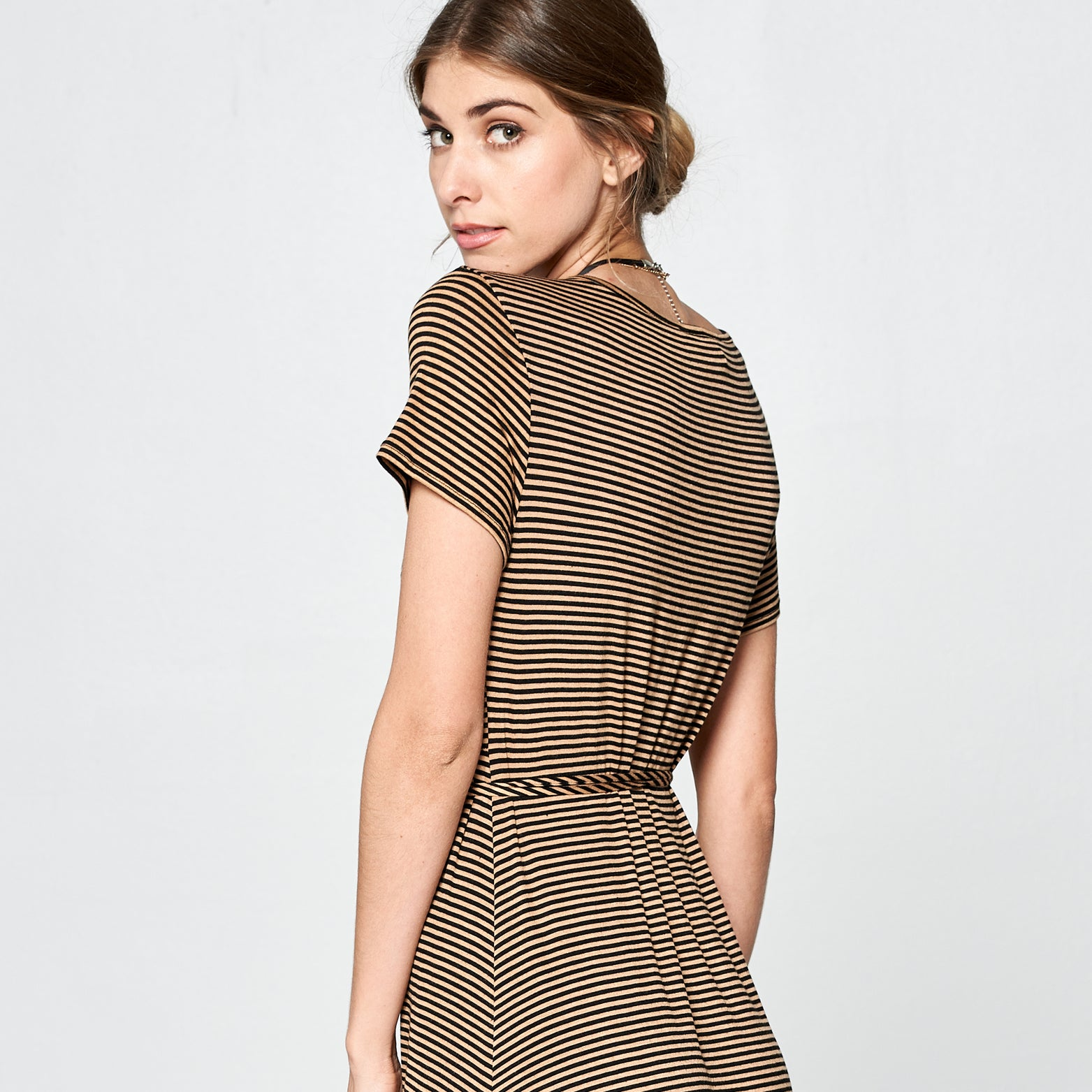 Mocha Striped Petal Wrap Maxi Dress