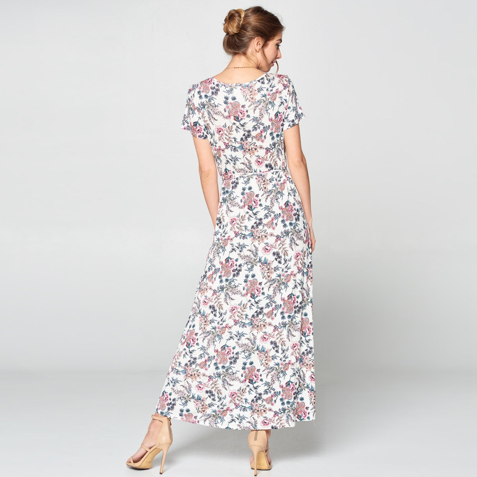 Cottage Floral Petal Wrap Maxi Dress