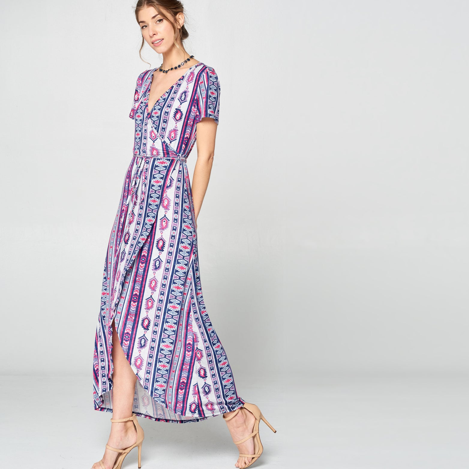 Denim Tribal Petal Wrap Maxi Dress