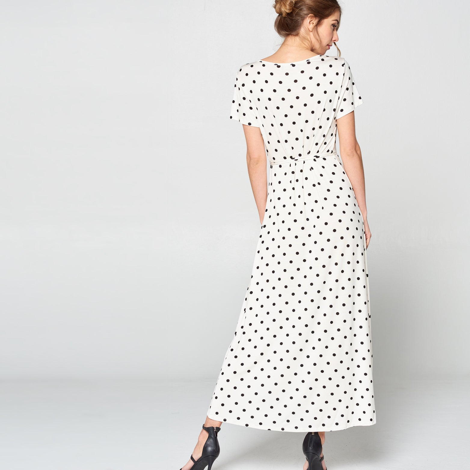 Polka Dot Petal Wrap Maxi Dress