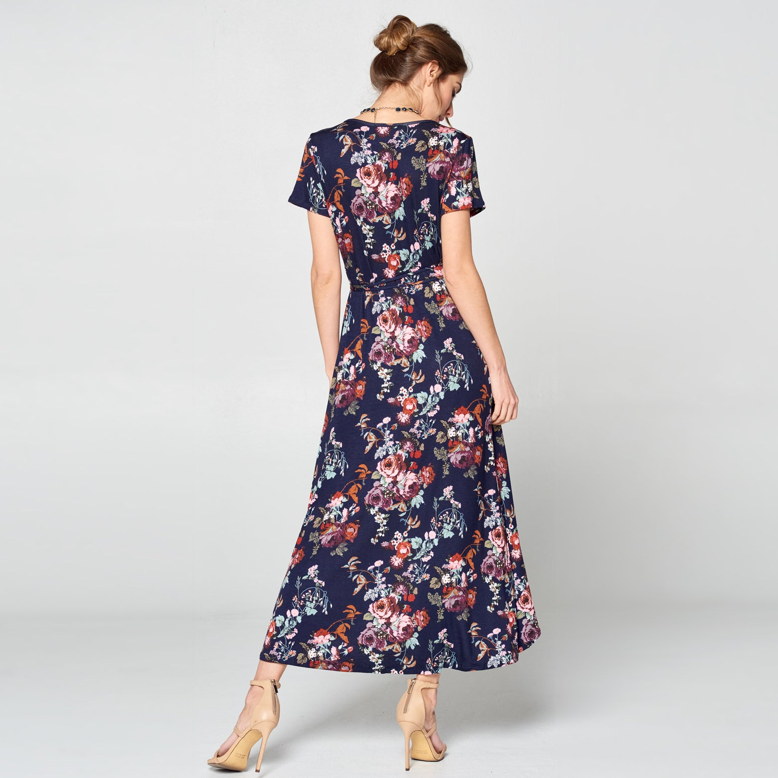Midnight Floral Petal Wrap Maxi Dress