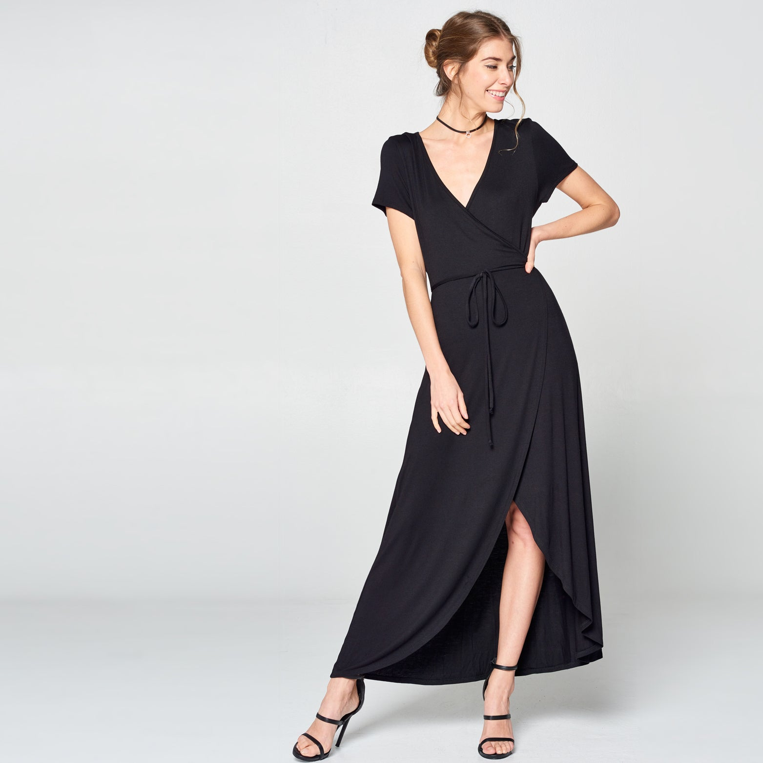 Black Petal Wrap Maxi Dress