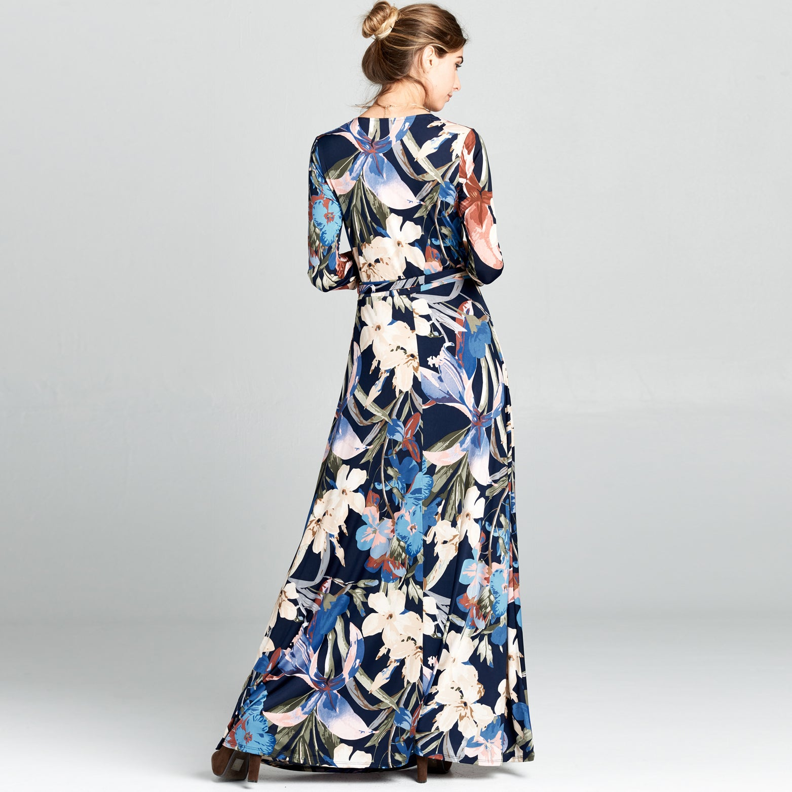 Navy Floral Venechia Wrap Dress
