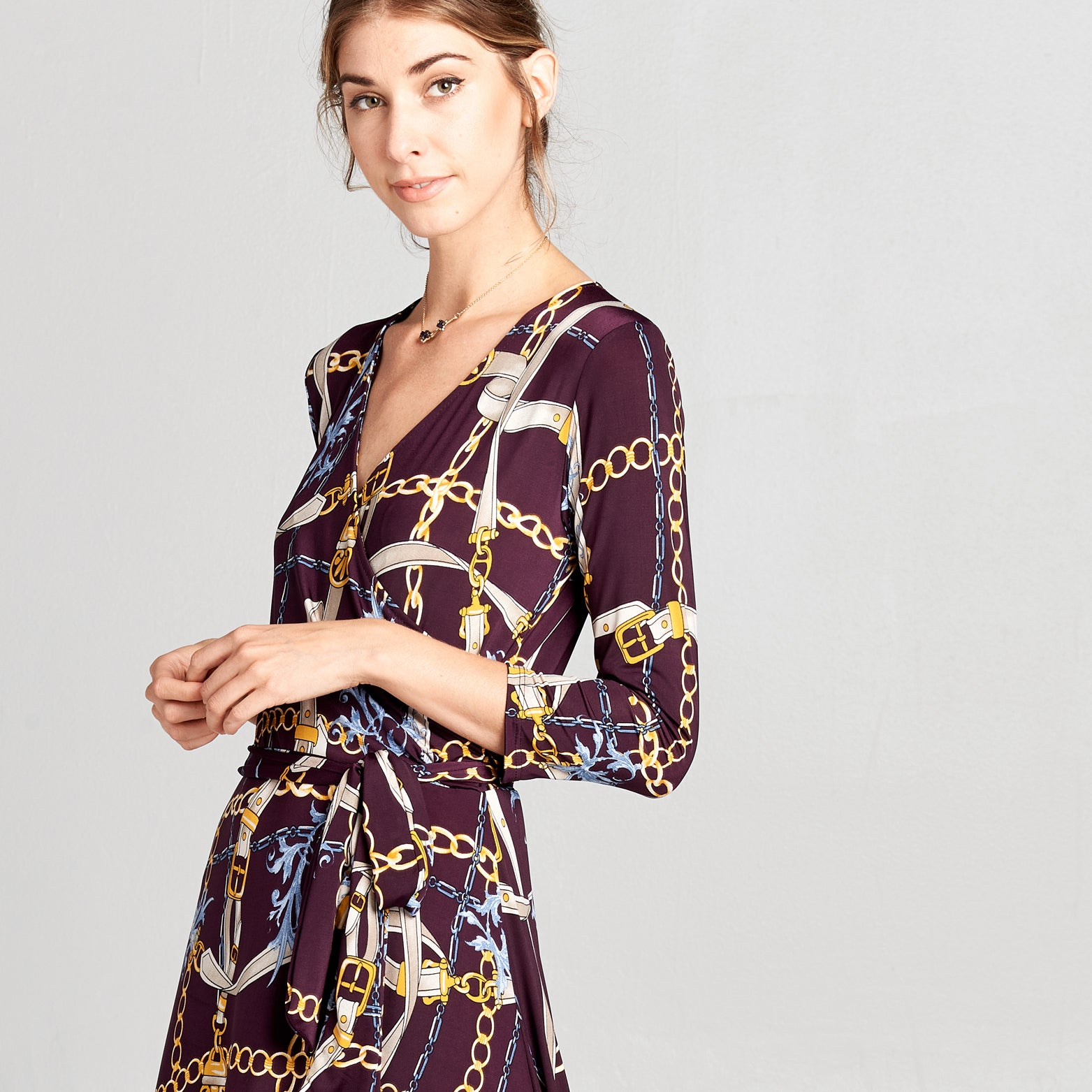 Chain and Belt Venechia Wrap Dress - Love, Kuza