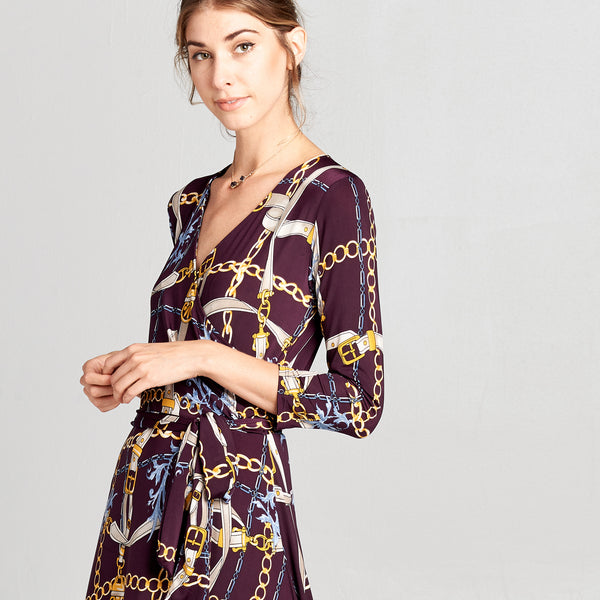 Chain and Belt Venechia Wrap Dress
