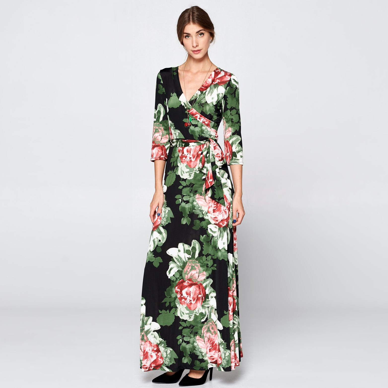 Night Floral Venechia Wrap Dress