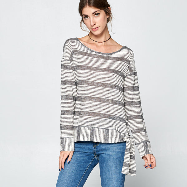 Marled Stripe Terry Top