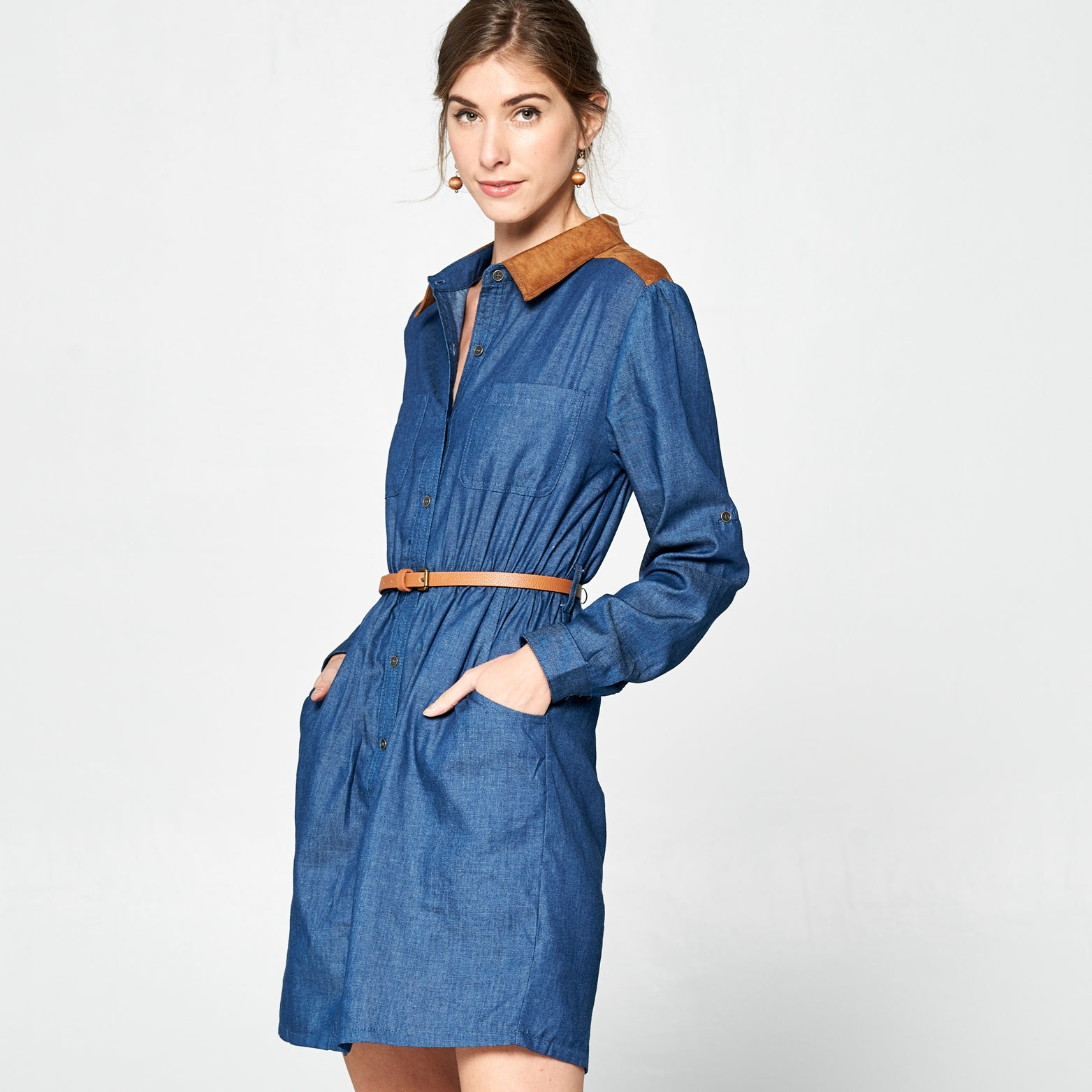 Denim & Suede Belted Dress
