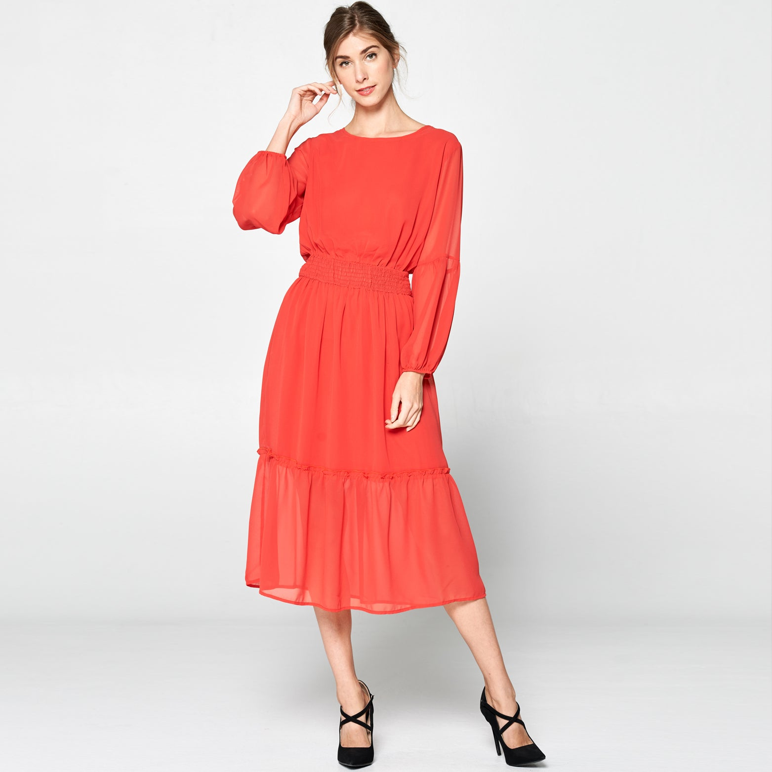 Bishop Sleeve Midi Dress