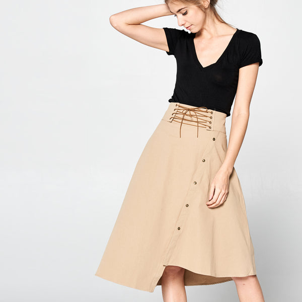 Uneven Cotton Twill Skirt - Love, Kuza