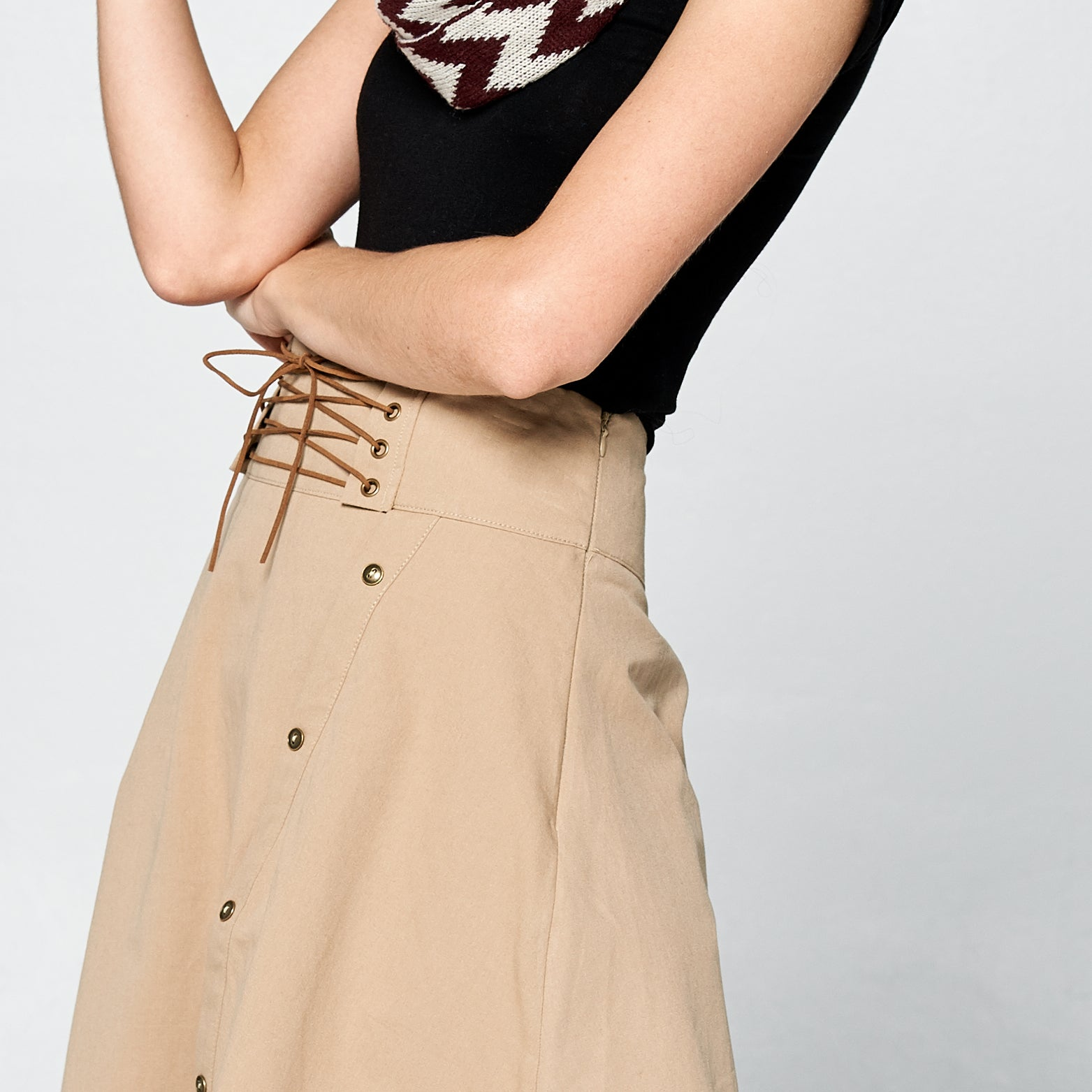 Uneven Cotton Twill Skirt