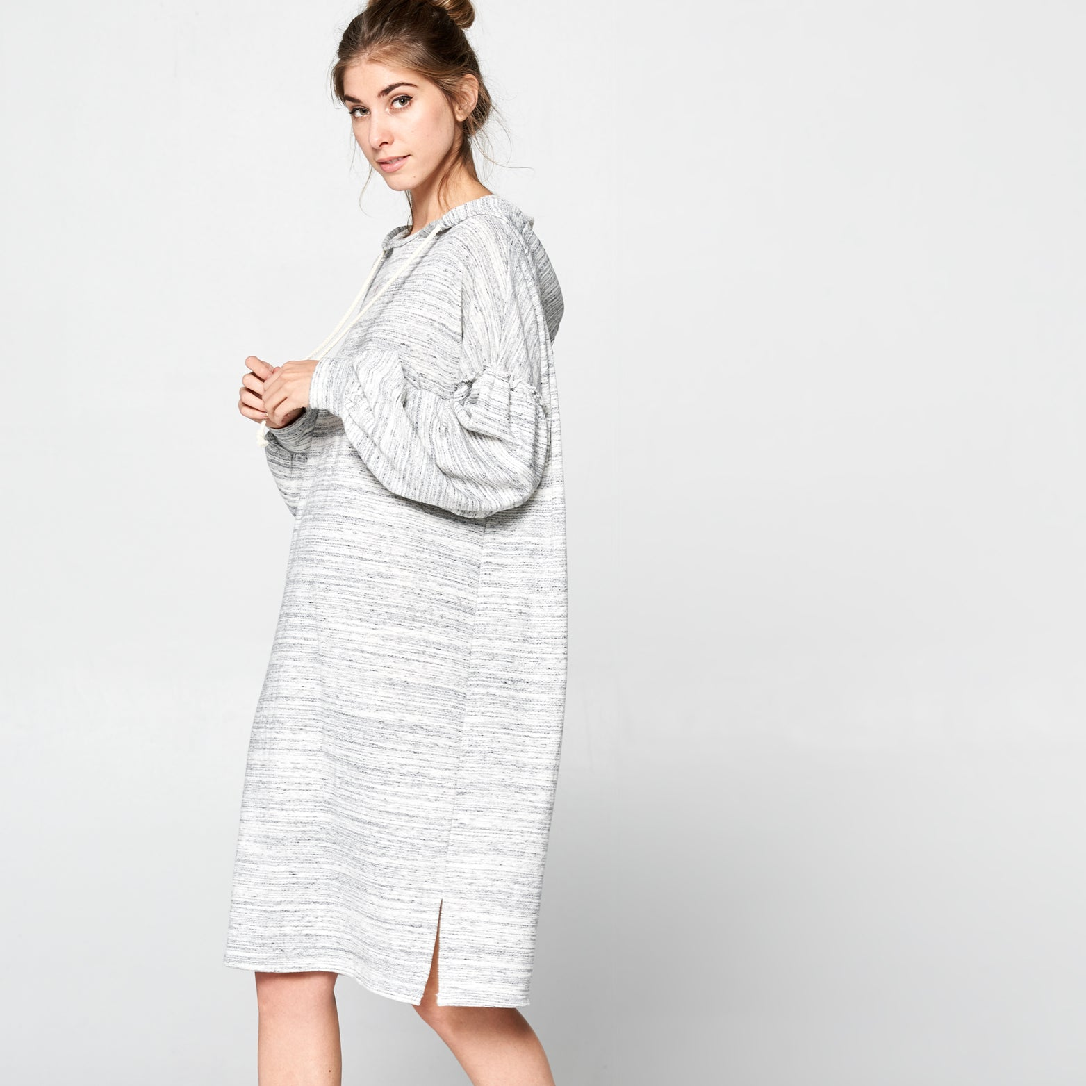 Oversized Marled Sweatshirt Dress