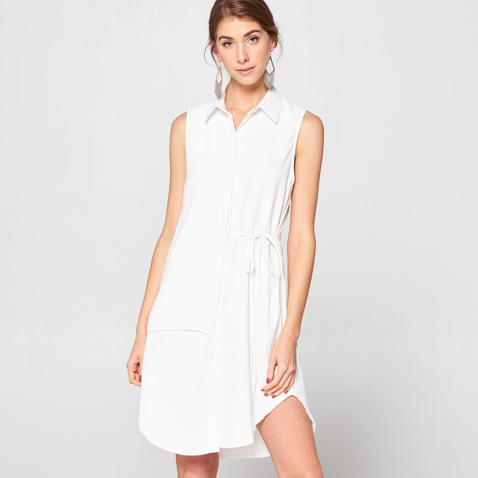 Layered Panel Shirt Dress