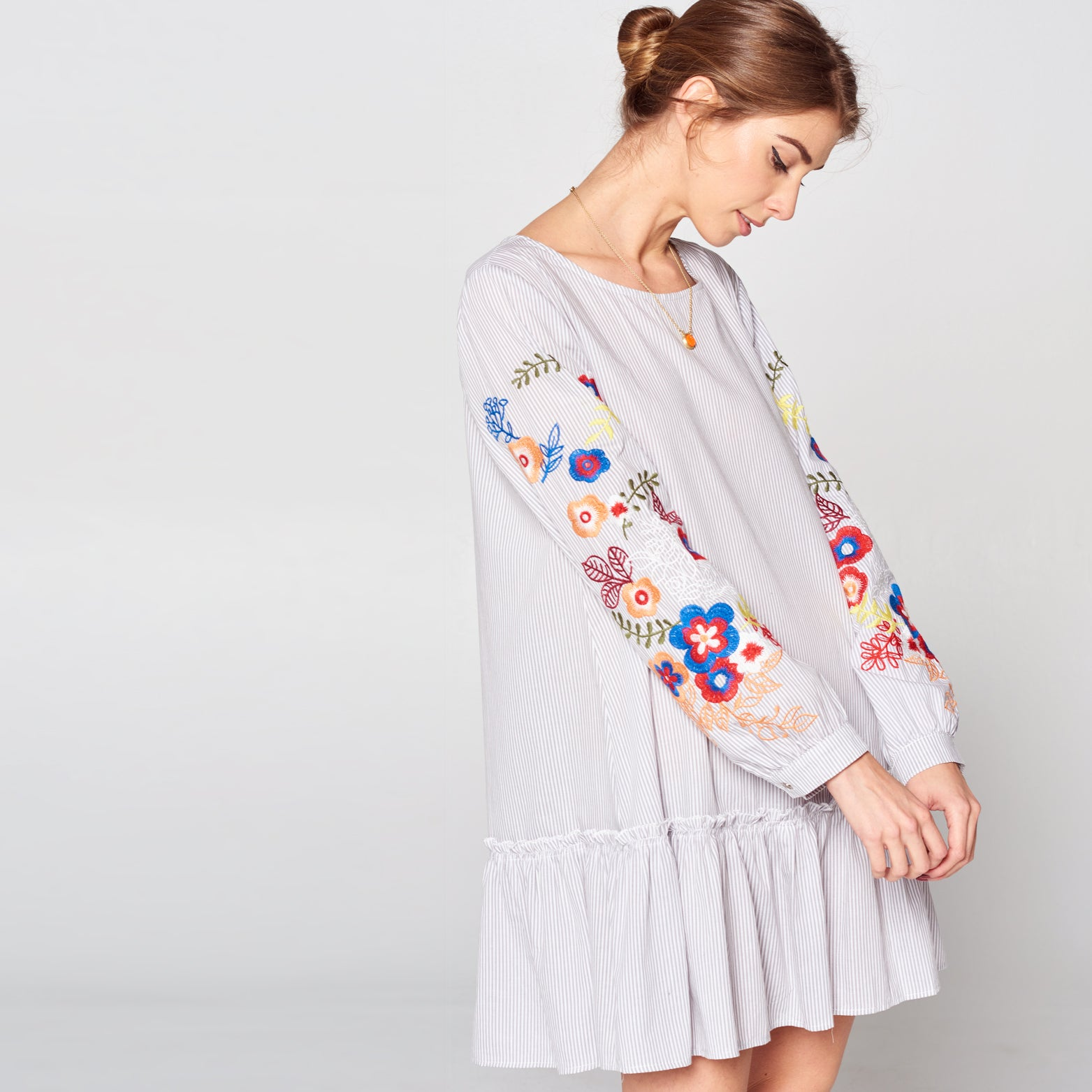 Embroidered Drop Waist Shirt Dress