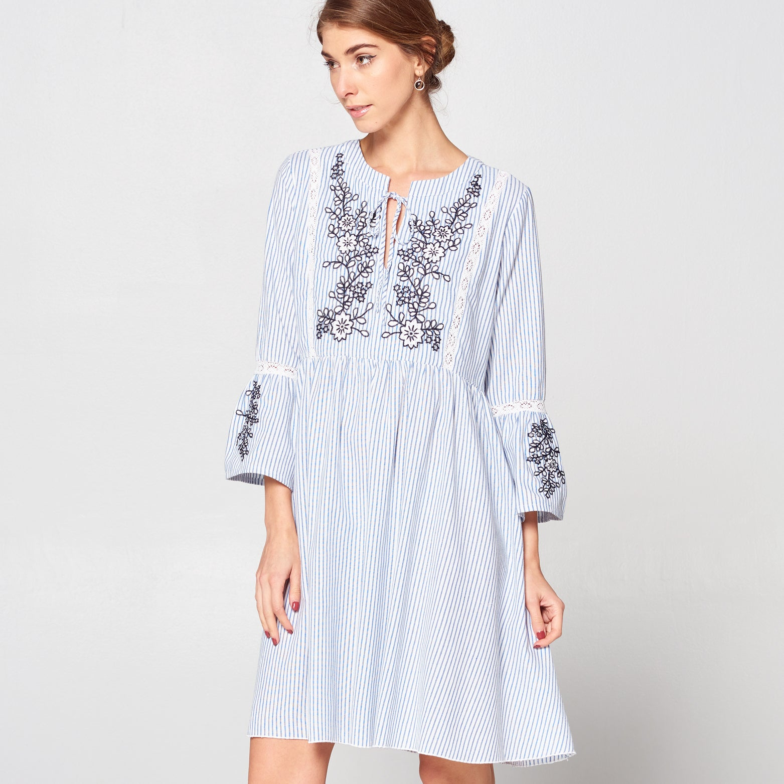Embroidered Striped Smock Dress