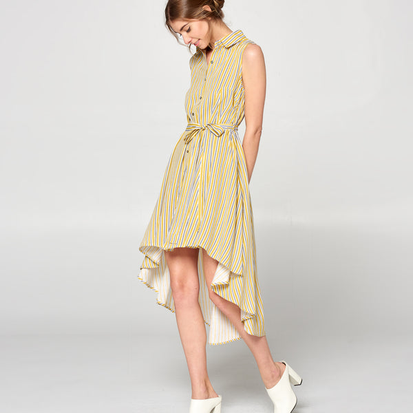 Mustard Striped Pleated Dress