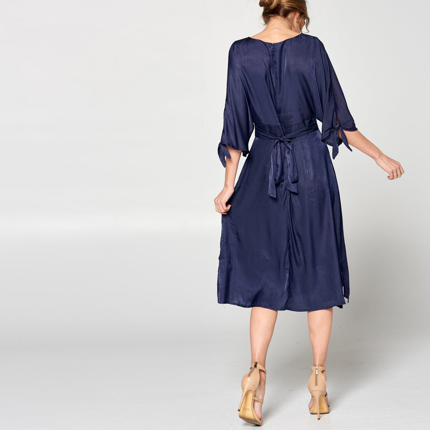 Navy Satin Midi Dress