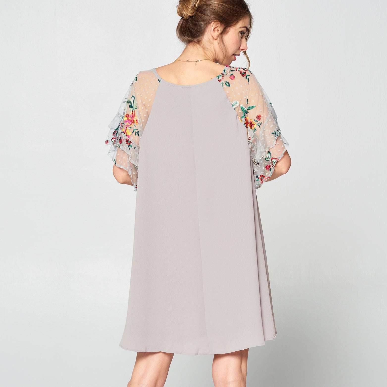 Floral Embroidered Sleeve Shift Dress