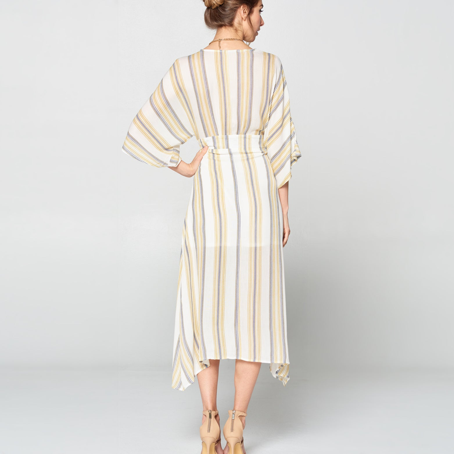 Striped Linen Button Front Dress