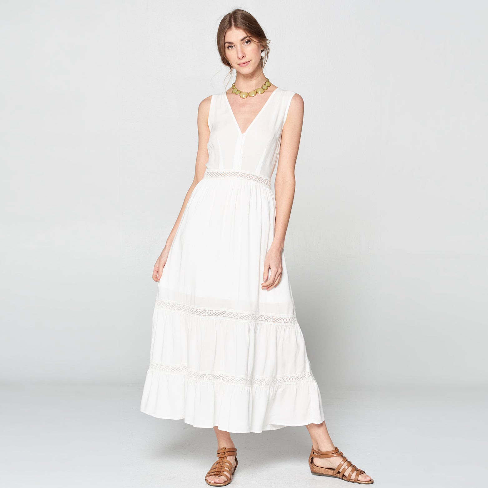 Sleeveless Tiered V-Neck Dress