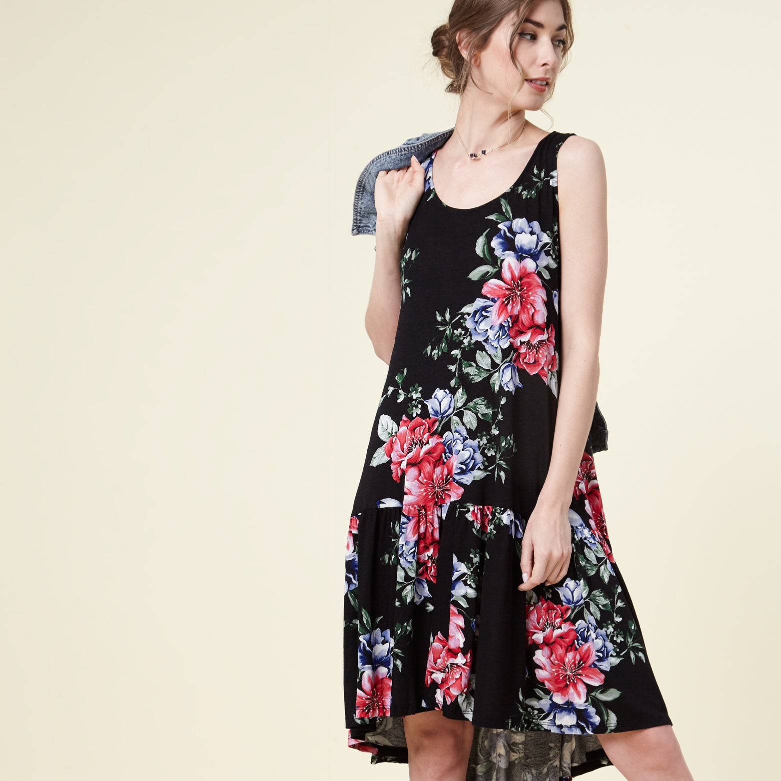 Black Floral Drop-Waist Dress