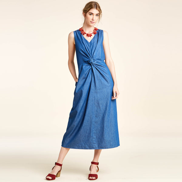 Front Knotted Chambray Dress