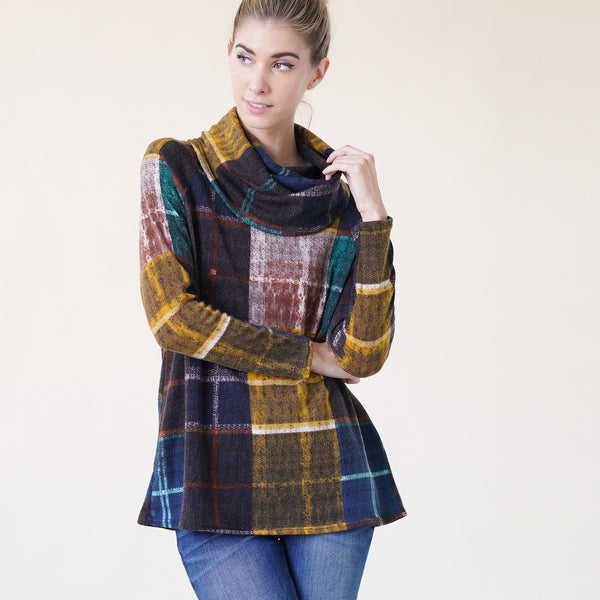 Rustic Plaid Cowl Neck Sweater