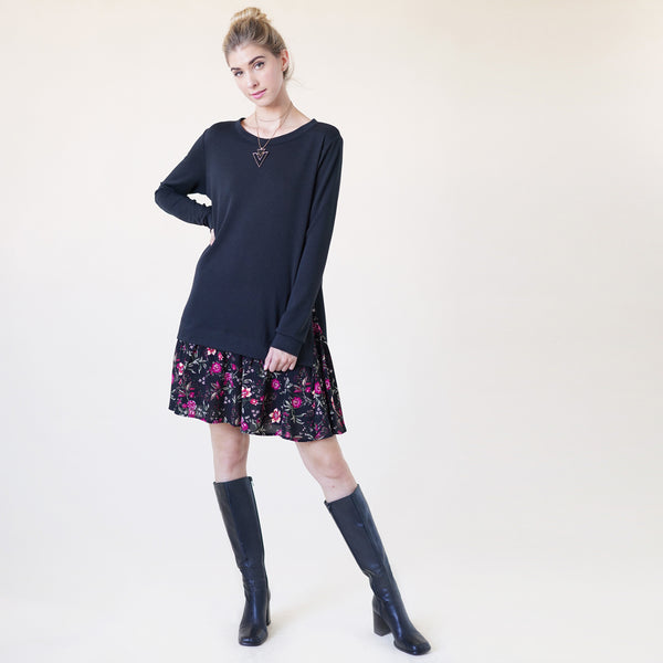 Contrast-Floral Hem Sweatshirt Dress