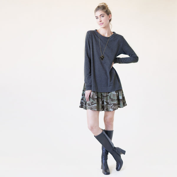 Contrast-Camo Hem Sweatshirt Dress