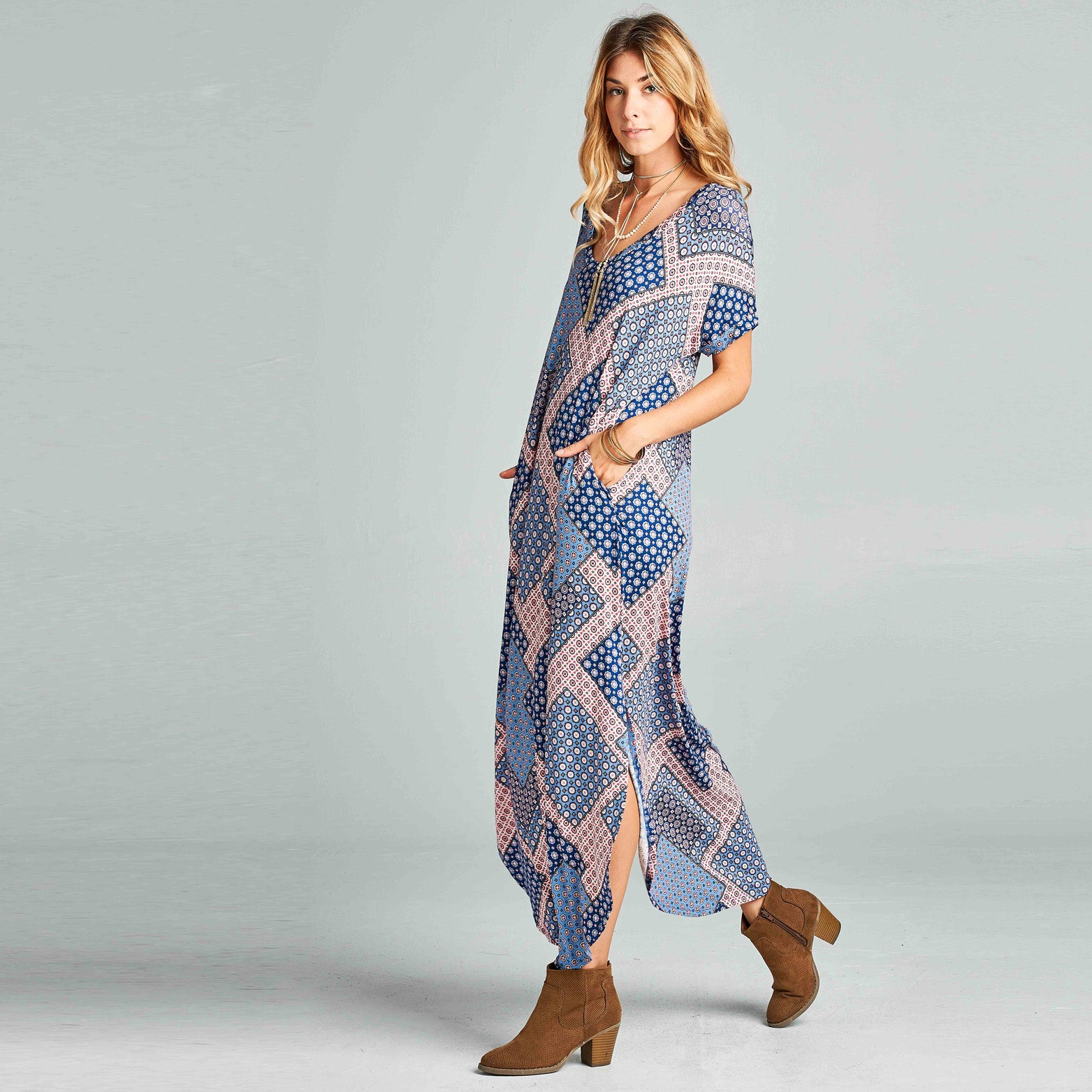 Assorted Abstract Print Maxi Dress - Love, Kuza