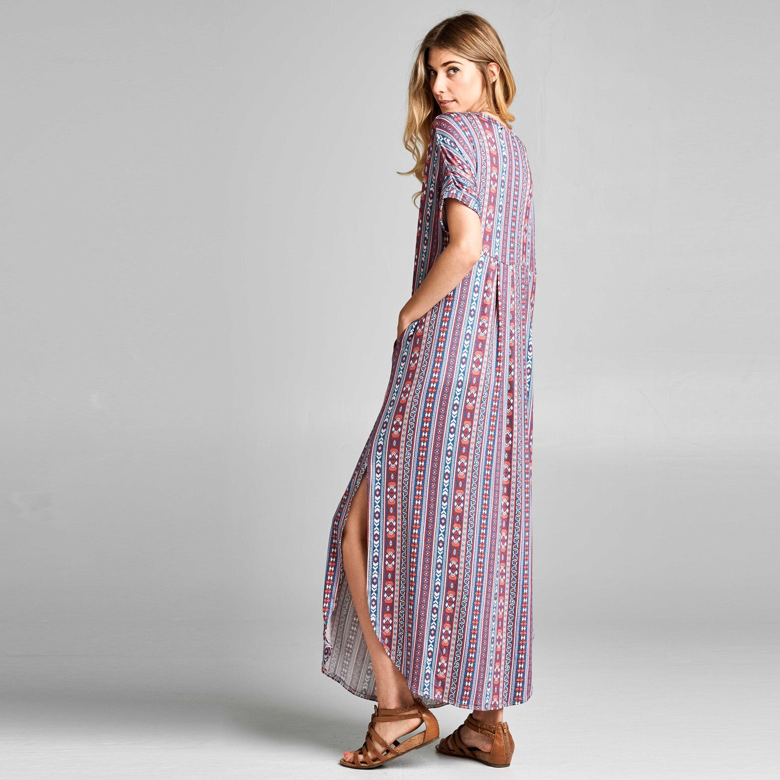 Assorted Abstract Print Maxi Dress