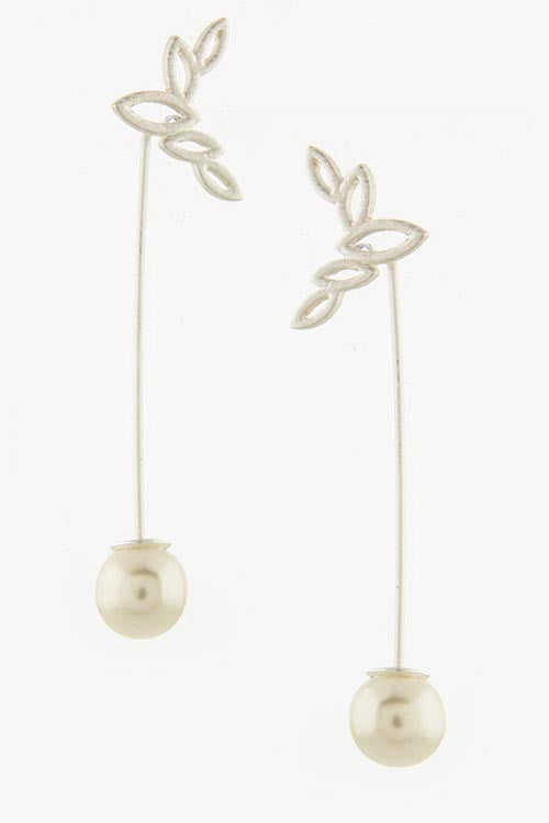 Leaf Design with Pearl Drop Earrings