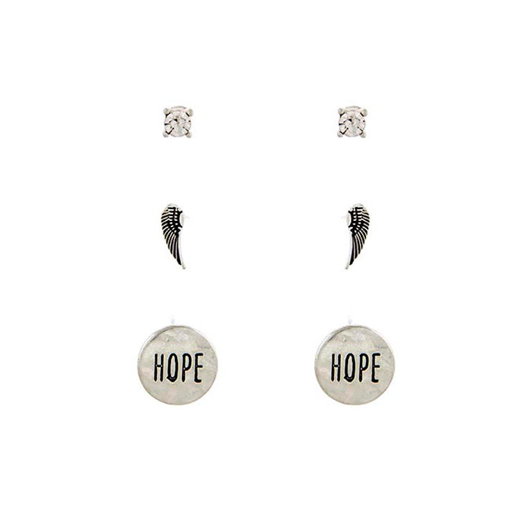 "Set of 3 ""Peace of Hope"" Studs Earrings Set"