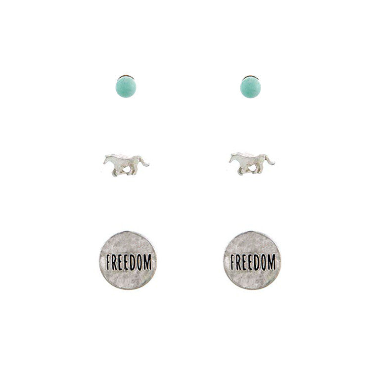Freedom Stud Earrings Set
