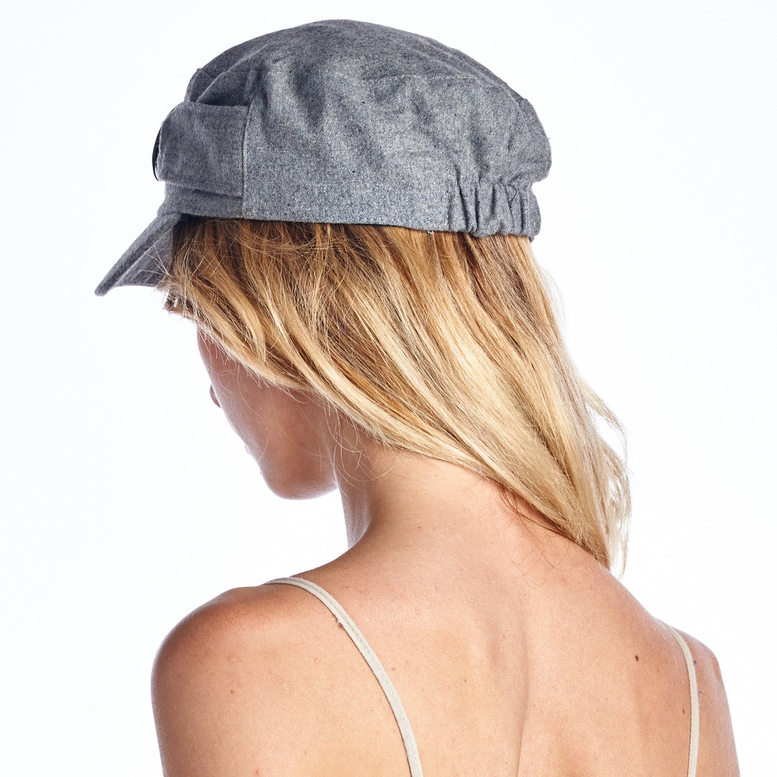 Wool Blend Military-Style Cap with Buckle